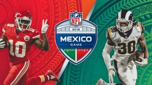 promotional graphic for the mexico city game between the kansas city chiefs and the los angeles rams