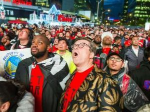 raptors fans watching game 6 of the nba finals--sweating it out