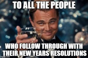 meme of leonardo dicaprio as the great gatsby raising a glass. the text reads: to all the people who follow through with their new years resolutions