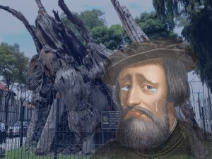 an image of cortés crying superimposed over the noche triste tree