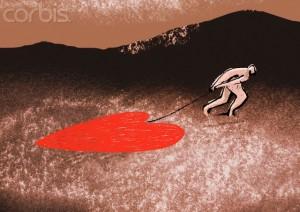 Man Dragging a Heavy Heart