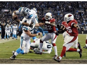 cam goes airborne for a touchdown in the nfc championship