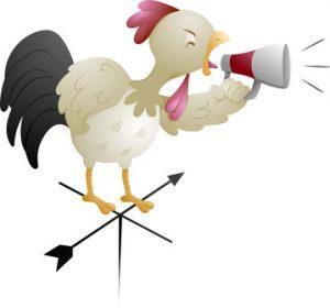 a cock shouting through a megaphone