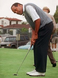 o.j. with his eye on the (golf) ball