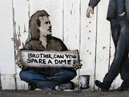 """guy sitting on the street holding a sign that says """"brother, can u spare a dime"""""""