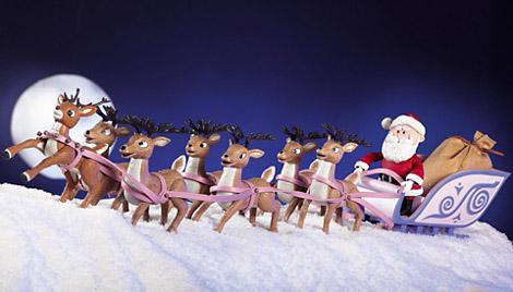reindeer pulling santa's sleigh