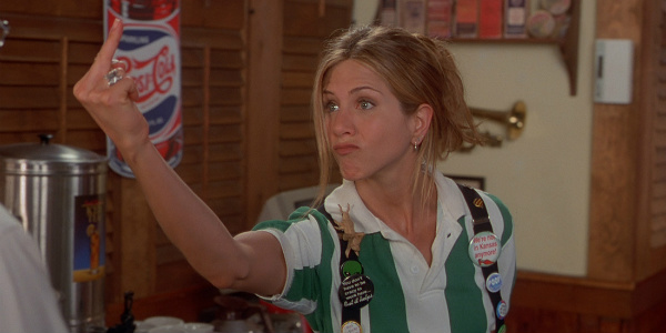 """aniston flips off her boss in """"office space"""""""