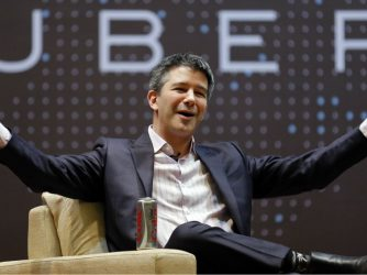 """travais kalanick in front of the word """"uber"""""""