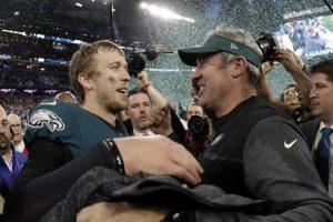 eagles quarterback nick foles and head coach doug pederson celebrate winning super bowl lii