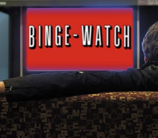 """""""binge watch"""" written like the netflix logo"""