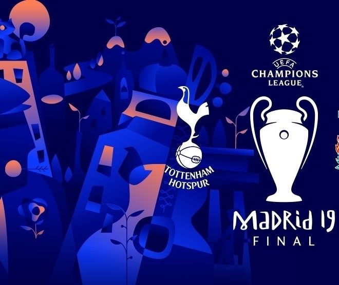 poster for uefa champions league final 2019 between tottenham hotspur & liverpool