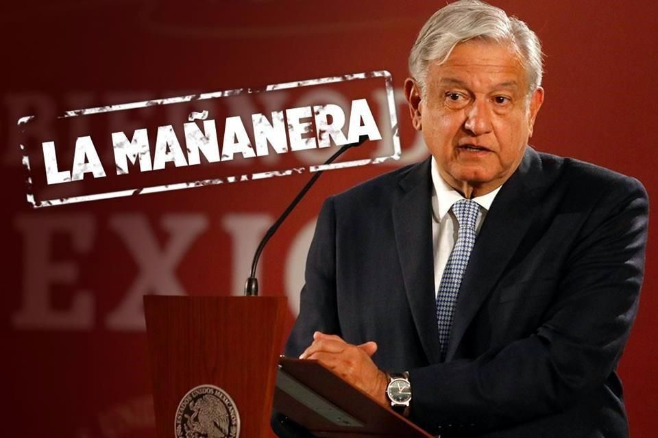 """president andres manuel lopez obrador and a graphic that a reads """"la mañanera"""""""