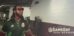 josh norman wearing the jersey of the mexican national selection arriving to a redskins game
