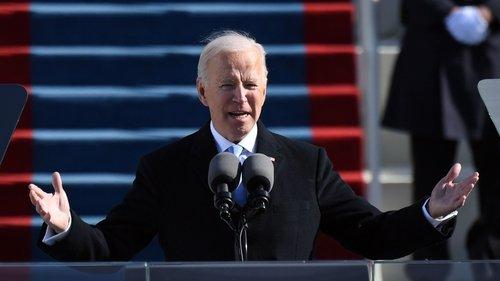 joe biden speaking at his inauguration